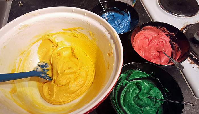 Mr Tumble's spotty cake batter