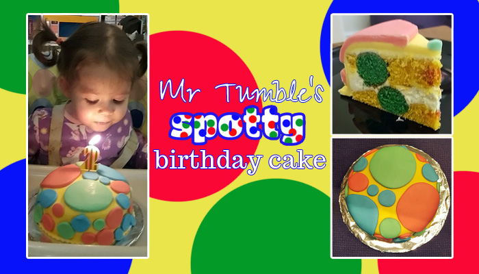 Mr Tumble's spotty birthday cake